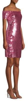 Aidan Mattox Off-The-Shoulder Sequin Cocktail Dress