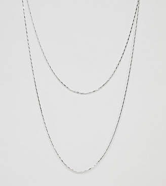 Asos DesignB London DesignB Double Layer Chain Necklace In Silver Exclusive To