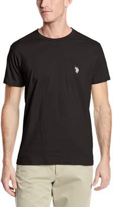 U.S. Polo Assn. Men's Crew Neck Pocket T-Shirt, Black/White