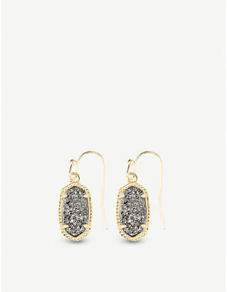 Kendra Scott Lee 14ct gold-plated and platinum drusy earrings