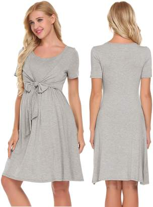 Ekouaer Hospital Nightgown Womens Short Sleeve Maternity Nursing Sleepwear(Grey,S)