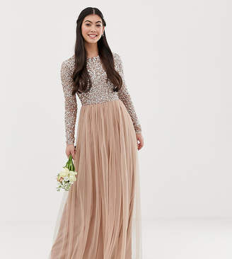 5bf9e506 at ASOS · Maya Petite Bridesmaid long sleeve maxi tulle dress with tonal  delicate sequins in taupe blush