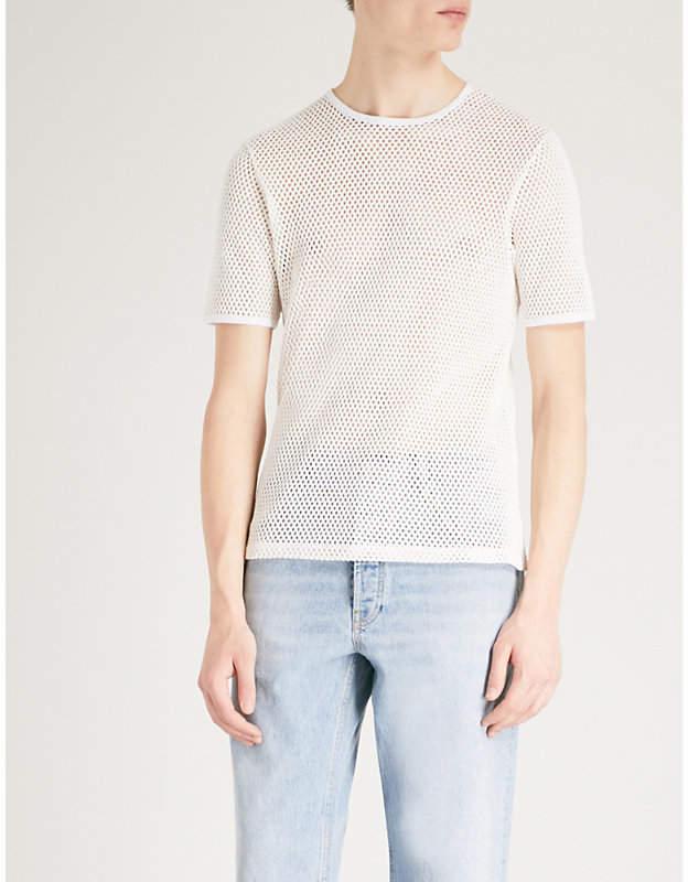 Semi-sheer cotton-mesh T-shirt