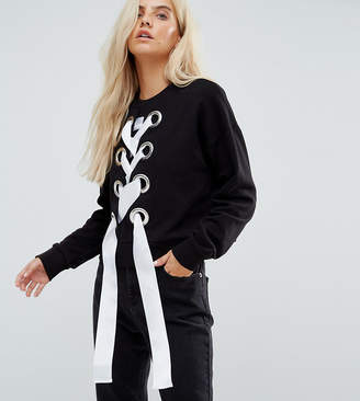 Asos Exclusive Sweatshirt With Lace Up and Oversized Eyelets