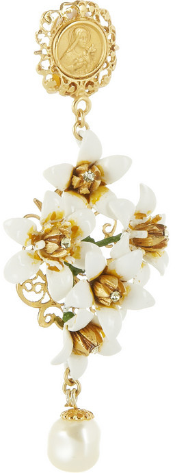 Dolce & Gabbana Gold-plated Swarovski crystal and faux pearl clip earrings