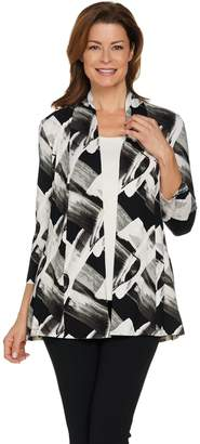 Halston H By H by Brush Stroke Print Open Front Cardigan