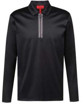 HUGO Boss Long-sleeved polo shirt in mercerized interlock cotton M Black