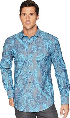 Bugatchi Men's Long Sleeve Fitted Printed Trellis Flowers Cotton Shirt
