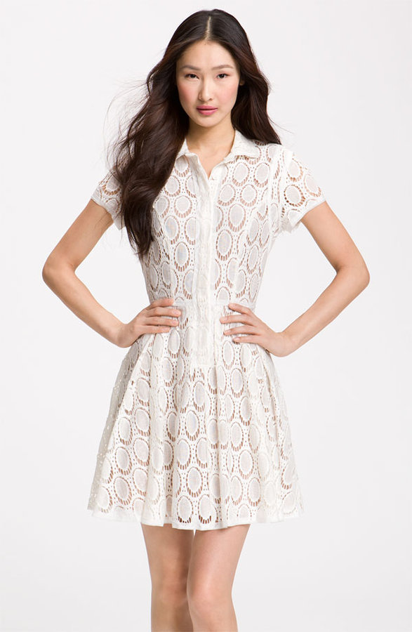 BCBGMAXAZRIA Lace Overlay Shirtdress
