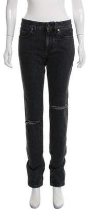 Saint Laurent Distressed Mid-Rise Straight-Leg Jeans w/ Tags