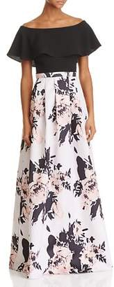 Aqua Off-the-Shoulder Floral Skirt Gown - 100% Exclusive