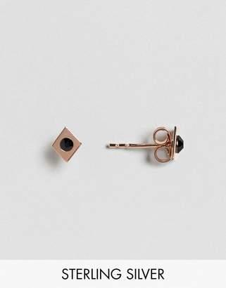 Asos Rose Gold Plated Sterling Silver Diamond Stud Earrings