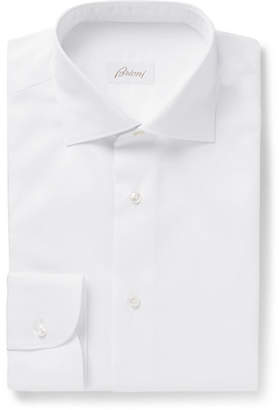 Brioni White Slim-Fit Cutaway-Collar Cotton-Jacquard Shirt
