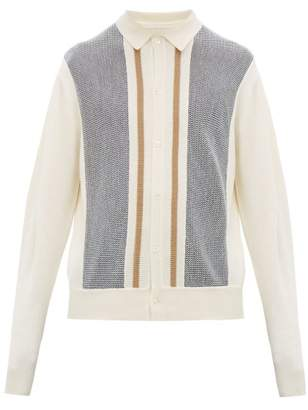 King & Tuckfield - Striped Wool Cardigan - Mens - Cream Multi