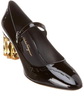 Salvatore Ferragamo Refracted Heel Mary Jane Patent Pump