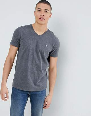 Abercrombie & Fitch Pop Icon v-neck t-shirt in dark gray
