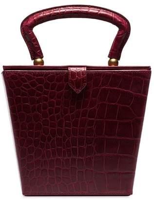 Staud burgundy red sadie mock croc leather box bag