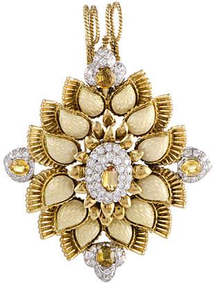 Cartier Heritage  18K Two-Tone 5.75 Ct. Tw. Diamond & Sapphire Brooch