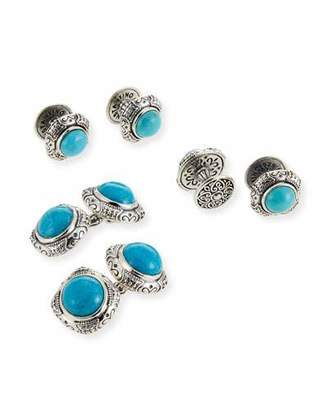 Konstantino Turquoise Cabochon Sterling Silver Cuff Links & Stud Set