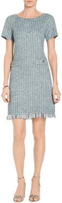 St. John Micro Striped Checked Knit Dress