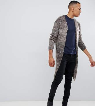 Asos DESIGN Tall longline textured cardigan in brown space dye yarn