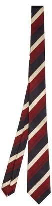 Gucci Schoolboy Stripe Silk Tie - Mens - Red Multi