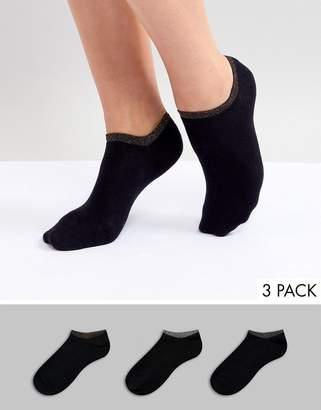 Monki 3 pack sports sneaker socks with rainbow edge in Black