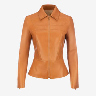 Bally Nappa Leather Peplum Jacket Brown, Women's nappa leather jacket in cowboy