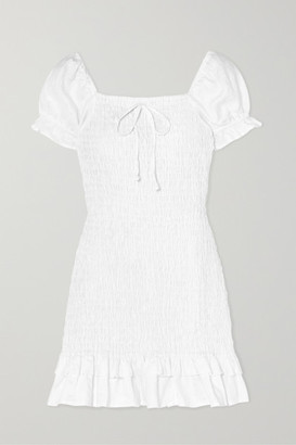 Faithfull The Brand Cette Ruffled Shirred Linen Mini Dress - White