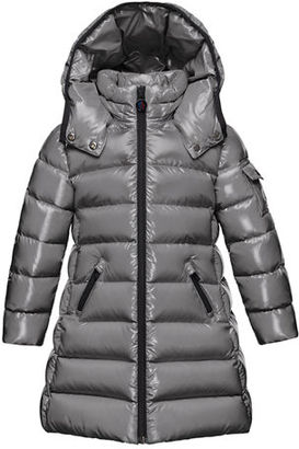 Moncler Moka Hooded Puffer Coat, Navy, Size 4-6 $495 thestylecure.com