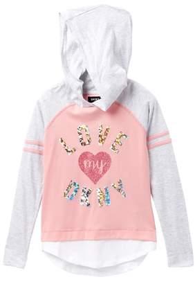DKNY Long Sleeve Hoodie Tee (Big Girls)