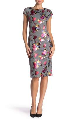 ECI Foil Floral Cap Sleeve Sheath Dress