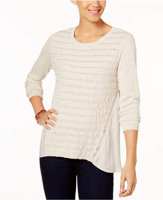 Style&Co. Style & Co Petite Cotton Pointelle-Knit High-Low Sweater