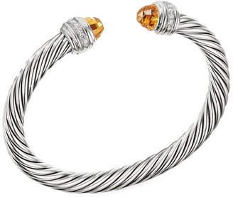 David Yurman Cable Bracelet w/ Diamonds & Citrine