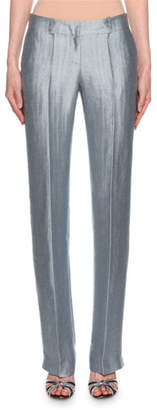 Giorgio Armani Metallic Linen Chevron Pants, Ice Blue