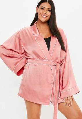 Missguided Plus Size Pink Kimono Piped Satin Dressing Gown