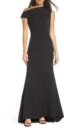 Jarlo Carmel One-Shoulder Gown