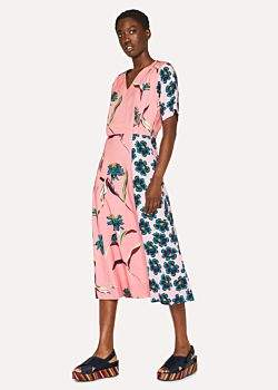 Paul Smith Women's Pink 'Pacific Floral' V-Neck Dress