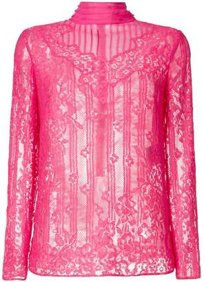 Valentino mock neck lace blouse