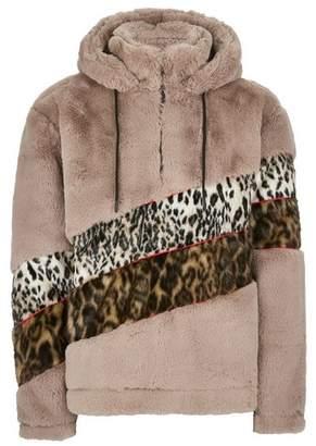 Topman Mens Brown Leopard Print Cut and Sew Over Hoodie