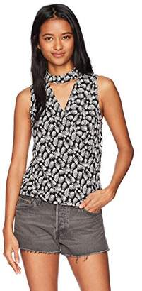 Amy Byer A. Byer Women's Printed Wrap Front Top with Choker Neck