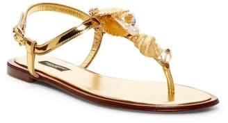 Dolce & Gabbana Crystal & Pearl Embellished Seashell Flat Sandal