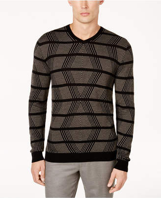 Alfani Men's Geo Cashmere Blend Sweater, Created for Macy's $99 thestylecure.com