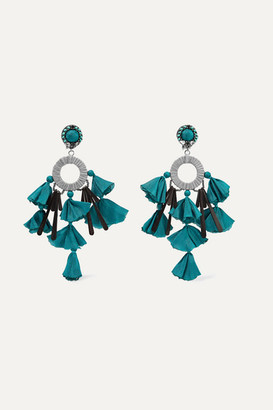 Ranjana Khan Sandy-t Silver-tone, Satin And Crystal Clip Earrings - Turquoise