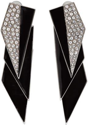Saint Laurent Silver and Black Crystal Smoking Earrings