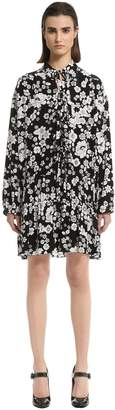 Moschino Floral Printed Crepe De Chine Dress