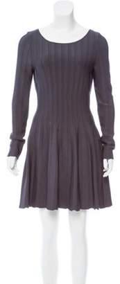 Elizabeth and James Long Sleeve Pleated Dress Grey Long Sleeve Pleated Dress