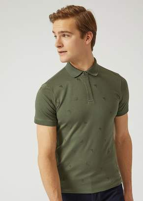 Emporio Armani Cotton Jersey Polo Shirt With Embroidered Logo