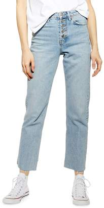 Topshop Bleached Buttonfly Straight Jeans 30-Inch-Leg