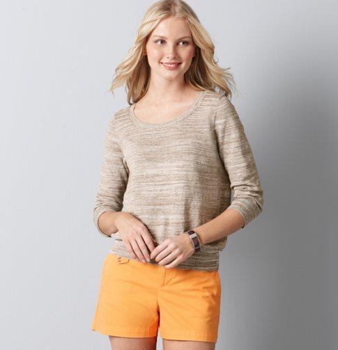 LOFT Space Dye 3/4 Sleeve Scoopneck Sweater